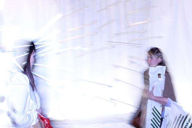 Girl blending into lights