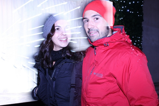 Couple in front of fluorescent lights at Selfridges 2011